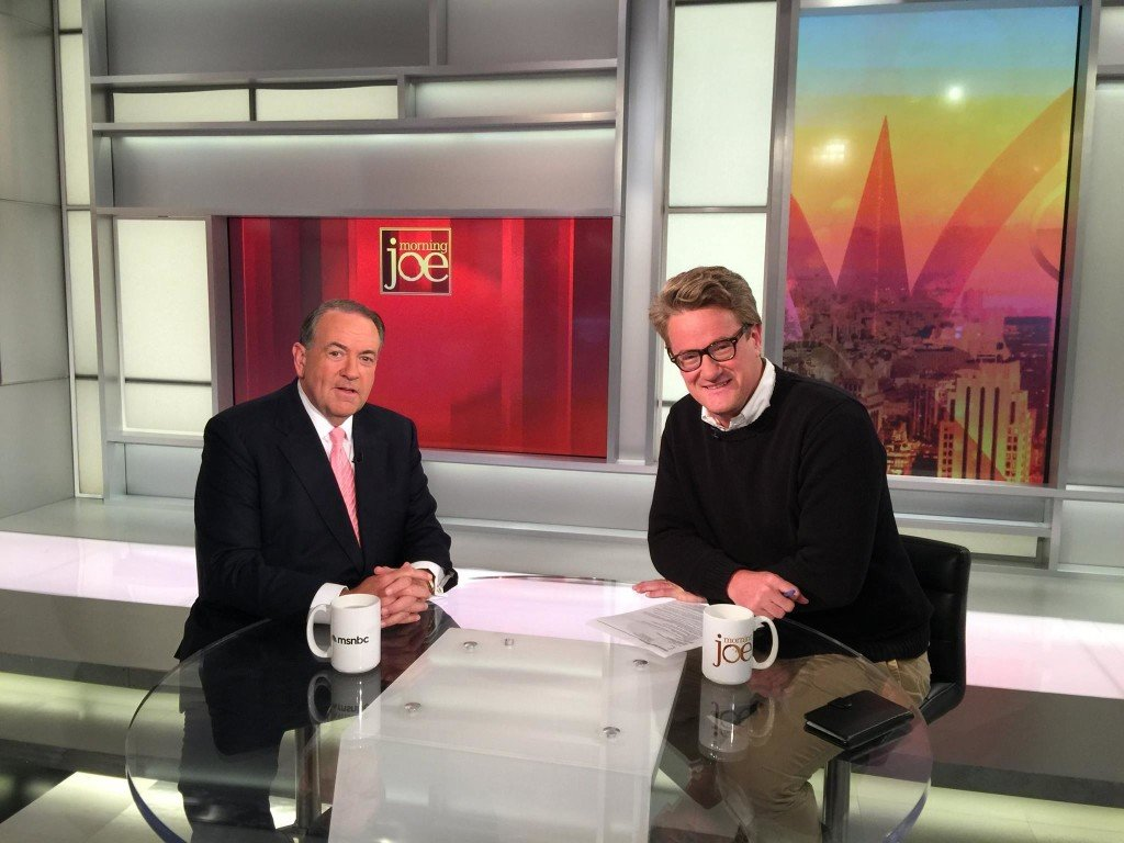 "Michael D. Huckabee with  Joe Scarborough on the ""Morning Joe"" set (Courtesy)"
